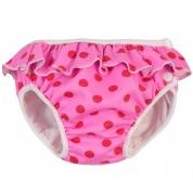 Badbyxa för babysim - rosa prickig med vollang